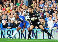 Goalkeeper Lukasz Fabianski of Arsenal collects to ball off Nicolas Anelka of Chelsea