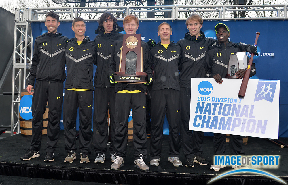 Nov 21, 2015; Louisville, KY, USA; Oregon men and winner Edward Cheserek (right) pose after finishing fourth during the 2015 NCAA cross country championships at Tom Sawyer Park. Mandatory Credit: Kirby Lee-USA TODAY Sports