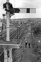 Transport Police patrol the rail line next to Shirebrooke Colliery during the 1984-85 Miners Strike. The colliery was at a standstill due to the refusal of rail workers to move coal from pits to power stations. 12 June 1984.