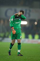 CARDIFF, WALES - Tuesday, January 24, 2012: Cardiff City's goalkeeper Tom Heaton before the penalty shoot out against Crystal Palace during the Football League Cup Semi-Final 2nd Leg at the Cardiff City Stadium. (Pic by David Rawcliffe/Propaganda)