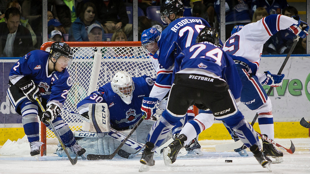 VICTORIA B.C. - NOVEMBER 22:  The Victoria Royals shutout the Regina Pats 5-0 in Western Hockey League action at the Save-On-Foods Memorial Centre on November 22nd, 2014 in Victoria, British Columbia, Canada. (Photo by Kevin Light/Victoria Royals)