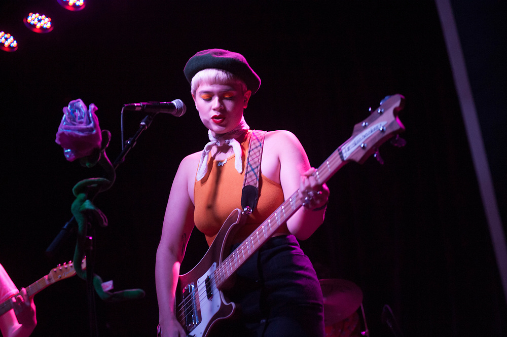 The Regrettes' Sage Nicole performing at The Constellation Room in Santa Ana, CA, April 19, 2017.
