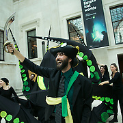 Bp-or-not-BP stage a splash mob art intervention at the British Museum in protest against the continued BP sponsorship of the exhibition 'Sunken Cities' 25th of September 2016.  BP pirates calling for more oil exploration. A flock of merfolk and BP pirates roamed the museum as well as a kraken, a giant sea monster. It is the the twentieth intervention by the activist group BP-or-not-BP against the museum's BP oil sponsorship. All the meterial was smuggled in passed security and as usual the museum let them do their piece in peace.