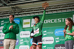 Coryn Rivera (USA) retains the race lead at OVO Energy Women's Tour 2018 - Stage 4, a 130 km road race from Evesham to Worcester, United Kingdom on June 16, 2018. Photo by Sean Robinson/velofocus.com