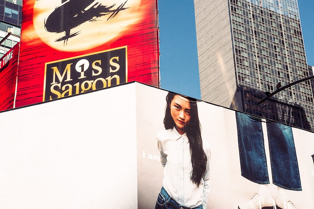 Miss Saigon and Asian girl in Gap ad. NYC 2017