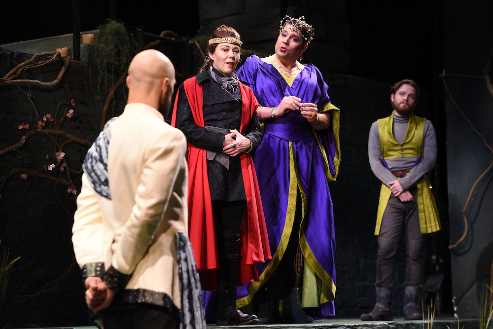 Mara Lavitt -- Special to the Hartford Courant<br /> March 24, 2016<br /> The run-through of William Shakespeare's &quot;Cymbeline,&quot; at the University Theatre at Yale. From left: Jonathan Higginbotham as Caius Lucius, Kathryn Meisle as Cymbeline, King of Britain; Michael Manuel as The Queen, and Christopher Geary as Cloten.