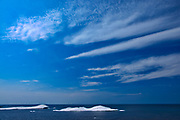 Ice on Lake Superior with clouds<br />Lake Superior Provincial Park<br />Ontario<br />Canada