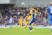 Preston North End forward Jordan Hugill (25) battles in the air with Brighton & Hove Albion defender Liam Rosenior (23) during the Sky Bet Championship match between Brighton and Hove Albion and Preston North End at the American Express Community Stadium, Brighton and Hove, England on 24 October 2015. Photo by Phil Duncan.