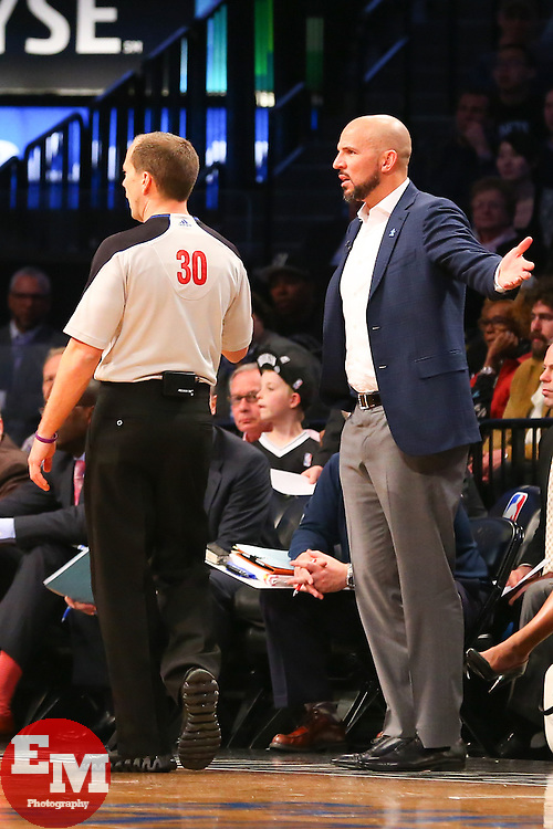 Apr 1, 2014; Brooklyn, NY, USA; Brooklyn Nets head coach Jason Kidd argues a call with referee John Goble (30) during the third quarter at Barclays Center.