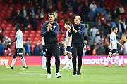 AFC Bournemouth manager Eddie Howe and his assistant Jason Tindall applaud the fans at full time after a 2-2 draw during the Premier League match between Bournemouth and Everton at the Vitality Stadium, Bournemouth, England on 25 August 2018.