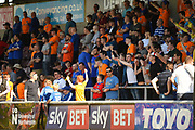 The Oldham Supporters during the EFL Sky Bet League 1 match between Northampton Town and Oldham Athletic at Sixfields Stadium, Northampton, England on 5 May 2018. Picture by Dennis Goodwin.