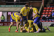 Accrington Stanley  celebrate Accrington Stanley forward Shay McCartan superb goal during the Sky Bet League 2 match between York City and Accrington Stanley at Bootham Crescent, York, England on 28 November 2015. Photo by Simon Davies.