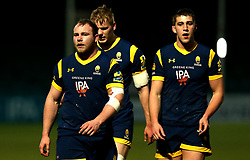 Mike Daniels, Justin Clegg and Huw Taylor of Worcester Cavaliers - Mandatory by-line: Robbie Stephenson/JMP - 03/04/2017 - RUGBY - Sixways Stadium - Worcester, England - Worcester Cavaliers v Wasps A - Aviva A League