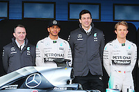 (L to R): Paddy Lowe (GBR) Mercedes AMG F1 Executive Director (Technical) with Lewis Hamilton (GBR) Mercedes AMG F1; Toto Wolff (GER) Mercedes AMG F1 Shareholder and Executive Director; and Nico Rosberg (GER) Mercedes AMG F1.<br /> Formula One Testing, Day One, Sunday 1st February 2015. Jerez, Spain.