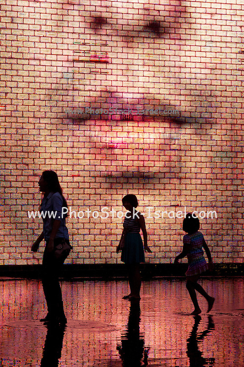 People near the video display at Crown Fountain in Millennium Park, Chicago, Illinois, USA
