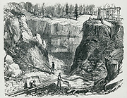 Hydraulic mining in the Californian goldfields. Engraving 1879
