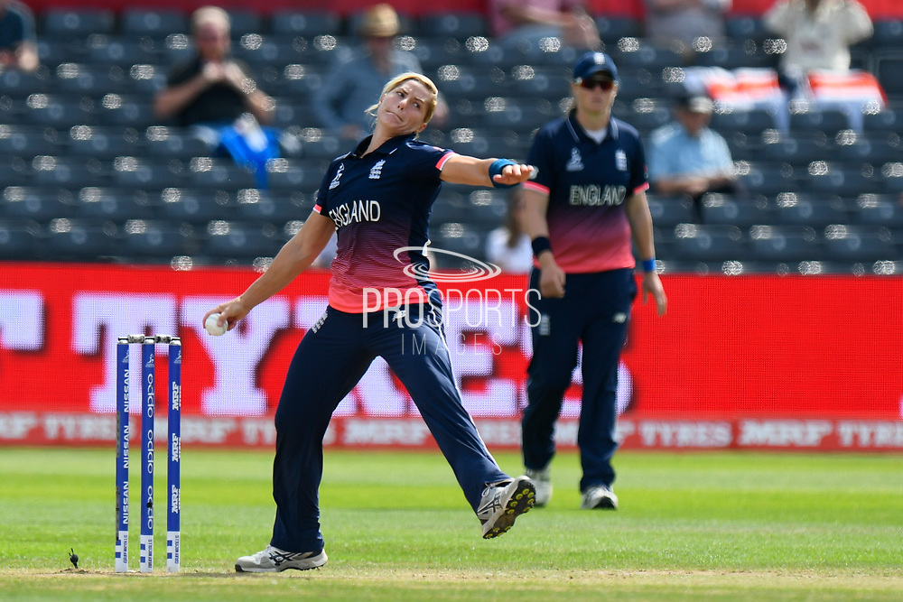 Katherine Brunt of England sends down a delivery during the ICC Women's World Cup semi final match between England and South Africa at the Bristol County Ground, Bristol, United Kingdom on 18 July 2017. Photo by Graham Hunt.
