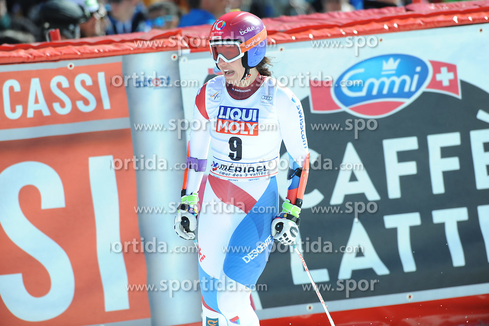 19.03.2015, Roc de Fer, Meribel, FRA, FIS Weltcup Ski Alpin, Meribel, Finale, Super G, Damen, im Bild // reacts after her run for the ladie's SuperG of the FIS Ski Alpine World Cup finals at the Roc de Fer in Meribel, France on 2015/03/19. EXPA Pictures © 2015, PhotoCredit: EXPA/ Erich Spiess
