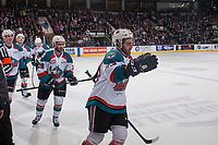 KELOWNA, CANADA - APRIL 14: Kole Lind #16, Dillon Dube #19 and Reid Gardiner #23 skate to the bench to celebrate a goal against the Portland Winterhawksof the Kelowna Rockets  on April 14, 2017 at Prospera Place in Kelowna, British Columbia, Canada.  (Photo by Marissa Baecker/Shoot the Breeze)  *** Local Caption ***