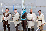 UNITED KINGDOM, London: 26 May 2019 <br /> Cosplayers dressed as Star Wars characters pose for a picture outside London ExCeL during the final day of the MCM London Comic Con. The three day comic convention is being held at London ExCeL from Fri 24th - Sun 26th of May.