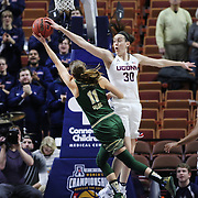 Breanna Stewart, (right), UConn, rejects Ariadna Pujol, USF, during the UConn Huskies Vs USF  2016 American Athletic Conference Championships Final. Mohegan Sun Arena, Uncasville, Connecticut, USA. 7th March 2016. Photo Tim Clayton