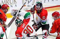 Nick Bailen of Belarus vs Adam Vay of Hungary and Janos Vas of Hungary during ice hockey match between Belarus and Hungary at IIHF World Championship DIV. I Group A Kazakhstan 2019, on April 30, 2019 in Barys Arena, Nur-Sultan, Kazakhstan. Photo by Matic Klansek Velej / Sportida