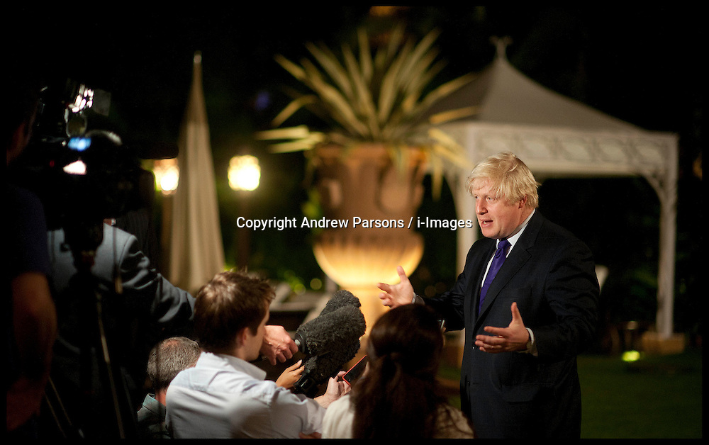 London Mayor Boris Johnson makes a statement to the media on the outcome of the Leveson Report in the grounds of the Taj Mahal Hotel, Mumbai, on the fifth day of his 6 day tour of India, Thursday November 29, 2012. Photo by Andrew Parsons / i-Images