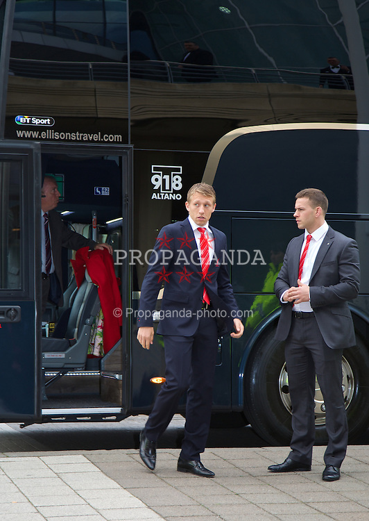 LIVERPOOL, ENGLAND - Tuesday, May 6, 2014: Liverpool's Lucas Leiva arrives on the red carpet for the Liverpool FC Players' Awards Dinner 2014 at the Liverpool Arena. (Pic by David Rawcliffe/Propaganda)