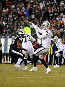 Dec 25, 2017; Philadelphia, PA, USA; Oakland Raiders quarterback David Carr (4) during a NFL football game at Lincoln Financial Field. The Eagles defeated the Raiders 19-10. Photo by Reuben Canales