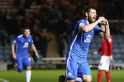 Peterborough United midfielder Michael Bostwick (8) scores a goal and celebrates to make the score 1-0 during the Sky Bet League 1 match between Peterborough United and Coventry City at London Road, Peterborough, England on 25 March 2016. Photo by Simon Davies.