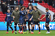 Patrick Bamford (9) of Leeds United and other Leeds United players celebrate the 1-0 win over Bristol City at full time during the EFL Sky Bet Championship match between Bristol City and Leeds United at Ashton Gate, Bristol, England on 9 March 2019.