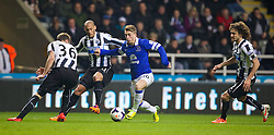 25.03.2014, St. James Park, Newcastle, ENG, Premier League, Newcastle United vs FC Everton, 28. Runde, im Bild Everton's Gerard Deulofeu takes on four Newcastle United defenders // during the English Premier League 28th round match between Newcastle United and Everton FC at the St. James Park in Newcastle, Great Britain on 2014/03/25. EXPA Pictures © 2014, PhotoCredit: EXPA/ Propagandaphoto/ David Rawcliffe<br /> <br /> *****ATTENTION - OUT of ENG, GBR*****
