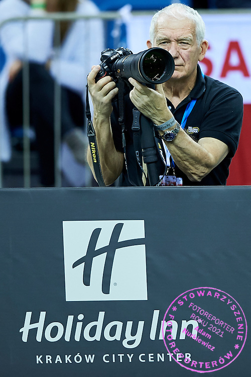 Photographer Robert Maksimow from Russia Tennis Federation during Second Day of the Fed Cup / World Group 1st round tennis match between Poland and Russia at Tauron Krakow Arena on February 8, 2015 in Cracow, Poland.<br /> <br /> Poland, Cracow, February 8, 2015<br /> <br /> Picture also available in RAW (NEF) or TIFF format on special request.<br /> <br /> For editorial use only. Any commercial or promotional use requires permission.<br /> <br /> Adam Nurkiewicz declares that he has no rights to the image of people at the photographs of his authorship.<br /> <br /> Mandatory credit:<br /> Photo by &copy; Adam Nurkiewicz / Mediasport