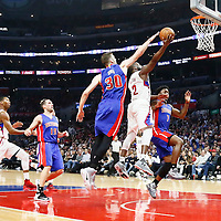 07 November 2016: Los Angeles Clippers guard Raymond Felton (2) is fouled by Detroit Pistons forward Jon Leuer (30) during the LA Clippers 114-82 victory over the Detroit Pistons, at the Staples Center, Los Angeles, California, USA.