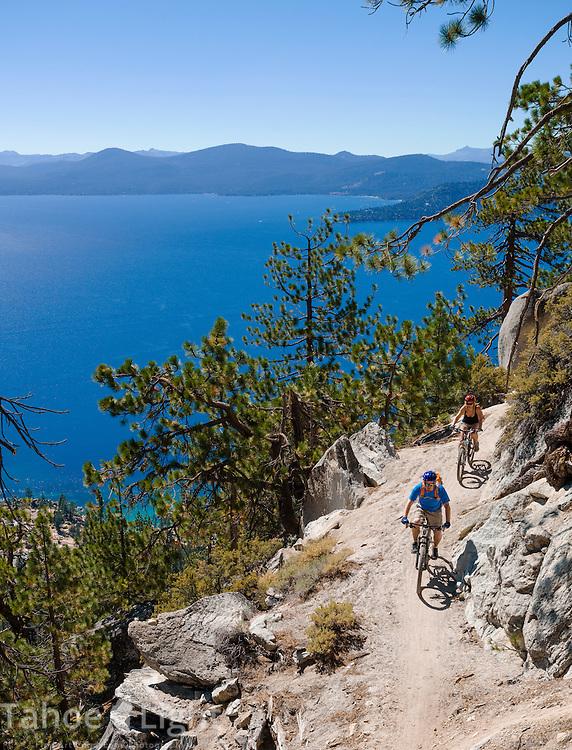 Mountain bike riding on the famous Lake Tahoe Flume Trail on the east shore of Lake Tahoe. Photo Scott Sady/TahoeLight.com
