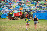 Pilton, Somerset, UK. Rubbish collection - 29th June 2019. The 2019 Glastonbury Festival, Worthy Farm. Glastonbury.