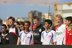 Hong Kong, China - Thursday, July 26, 2007: Liverpool's Steven Gerrard MBE, Dirk Kuyt and Xabi Alonso attend the Adidas Asia Challenge 2007, a 5-a-side event at the Tsimshatsui Drive-in Theatre in Hong Kong. (Photo by David Rawcliffe/Propaganda)