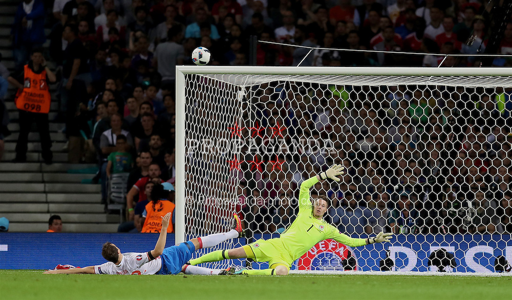 TOULOUSE, FRANCE - Monday, June 20, 2016: Wales' goalkeeper Wayne Hennessey in action against Russia during the final Group B UEFA Euro 2016 Championship match at Stadium de Toulouse. (Pic by David Rawcliffe/Propaganda)