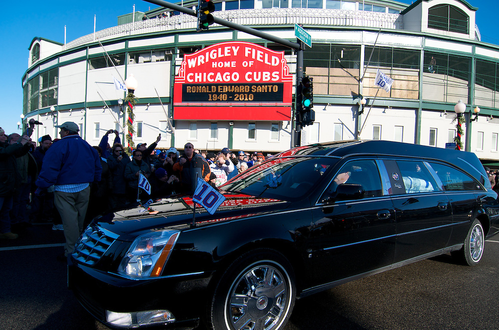 Ron Santo's funeral procession passes fans outside Wrigley Field