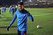 Tottenham Hotspur Heung- Min Son (7) warming up before during the The FA Cup 4th round match between Newport County and Tottenham Hotspur at Rodney Parade, Newport, Wales on 27 January 2018. Photo by Gary Learmonth.