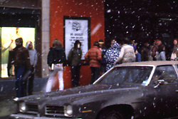 Snow and Deadheads Outside the Stanley Theater in Pittsburgh PA. Before the Grateful Dead Concert on March 5, 1981