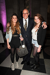 LOYD GROSSMAN and his daughters left FLO and right CONNIE at the opening of the Victoria & Albert Museum's latest exhibition 'Grace Kelly: Style Icon' opened by His Serene Highness Prince Albert of Monaco at the V&A on 15th April 2010.