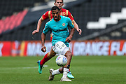 Forest Green Rovers Reuben Reid(26) passes the ball forward during the EFL Sky Bet League 2 match between Milton Keynes Dons and Forest Green Rovers at stadium:mk, Milton Keynes, England on 15 September 2018.