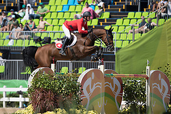 Guerdat Steve, SUI, Nino Des Buissonnets<br /> owner of the horse of Jerome with arms in the air<br /> Olympic Games Rio 2016<br /> © Hippo Foto - Dirk Caremans<br /> 14/08/16