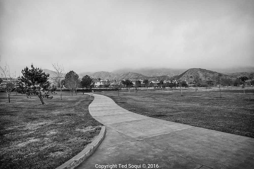 An empty public park.<br /> The Porter Ranch area of Los Angeles is now a ghost town. Over 2500 residents have moved out due to a massive natural gas leak at the Southern California Aliso Canyon Storage Facility. Another 1500 residents are poised to move out soon. The natural gas is a health hazard. An estimated 77 million kilograms of methane gas have been released.<br /> Residents near the site have been dealing with foul odors and nosebleeds,<br /> headaches, nausea and other ailments.