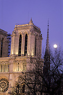 France. Paris. 5th district. Elevated view.  Notre dame cathedral . view from the Hotel Notre dame