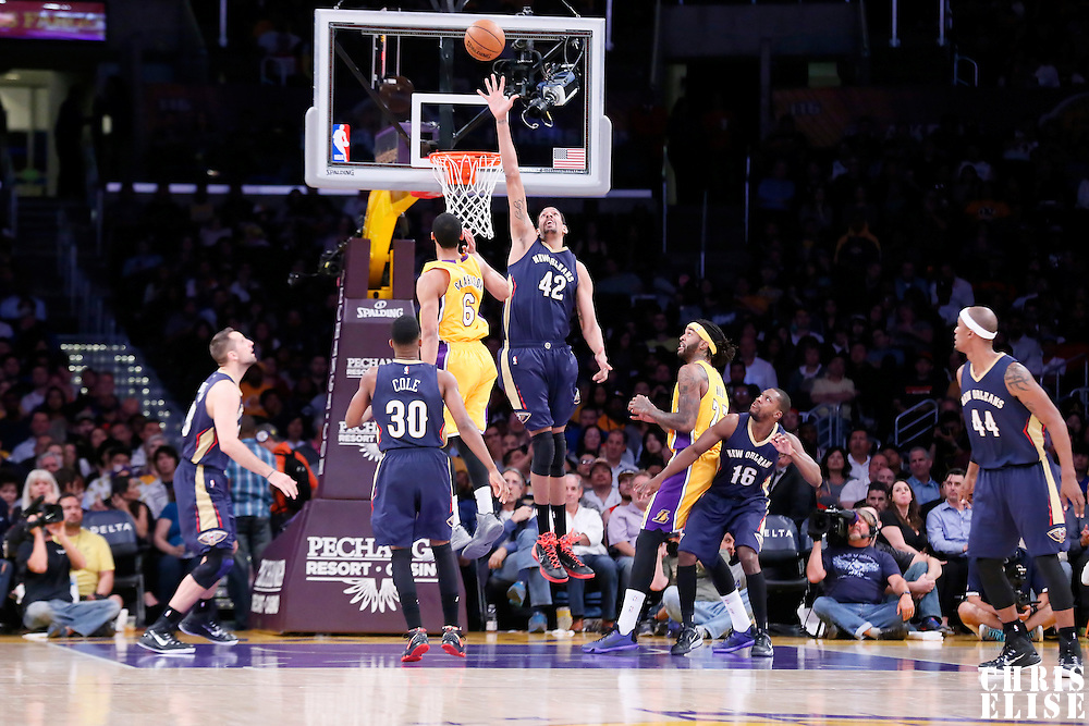 01 April 2015: New Orleans Pelicans center Alexis Ajinca (42) goes for the block during the New Orleans Pelicans 113-92 victory over the Los Angeles Lakers , at the Staples Center, Los Angeles, California, USA.