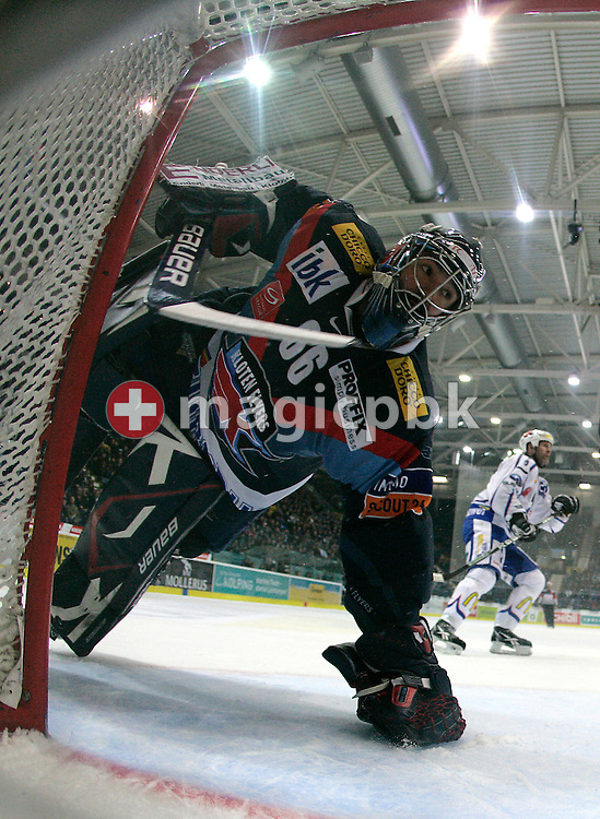 Kloten Flyers goaltender Ronnie RUEEGER is pictured during ice hockey game one of the Swiss National League A Playoff Quarterfinal between Kloten Flyers and ZSC Lions held at the Kolping Arena in Kloten, Switzerland, Saturday, Feb. 26, 2011. (Photo by Patrick B. Kraemer / MAGICPBK)