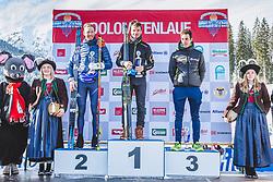 20.01.2019, Loipe Obertilliach, AUT, 45. Dolomitenlauf, Freestyle, im Bild v.l.: 2. Platz Max Olex (GER, 20km), 1. Platz Clemens Blassnig (AUT, 20km), 3. Platz Julian Brunner (ITA, 20km) // during the 45th Dolomitenlauf Freestyle race at Obertilliach, Austria on 2019/01/20, EXPA Pictures © 2019 PhotoCredit: EXPA/ Dominik Angerer
