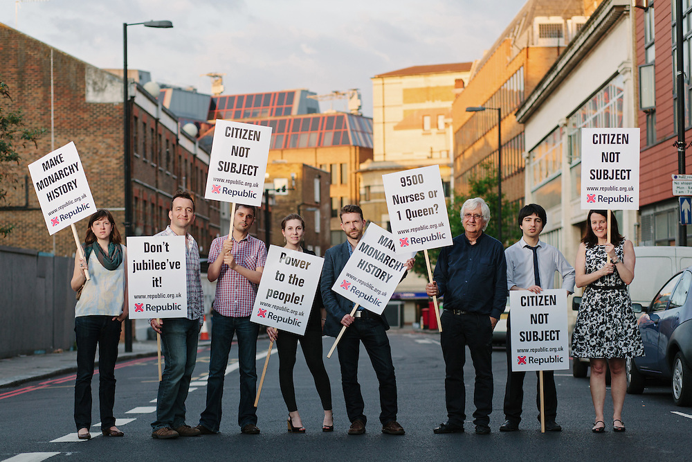 Anti-monarchist group, Republic, from left to right; Emily Robinson, Graham Smith, James Gray, Jen Gingell, Andrew Child, Peter Jenkins, Adam Barnett and Paula Feehan. Photographed in London, 28th May 2012.
